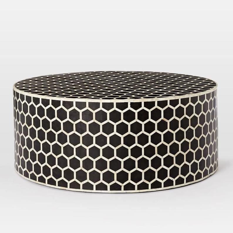 Bone Inlay Round Coffee Table in black Color in 2020