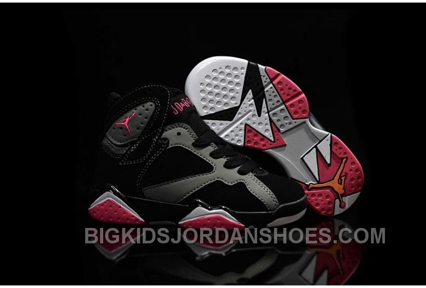 New 2016 Nike Air Jordan 7 Retro GS Black Silver Red Sneakers Kids  Basketball Shoes 442950-008, Price: $85.00 - Big Kids Jordan Shoes - Kids  Jordan Shoes ...