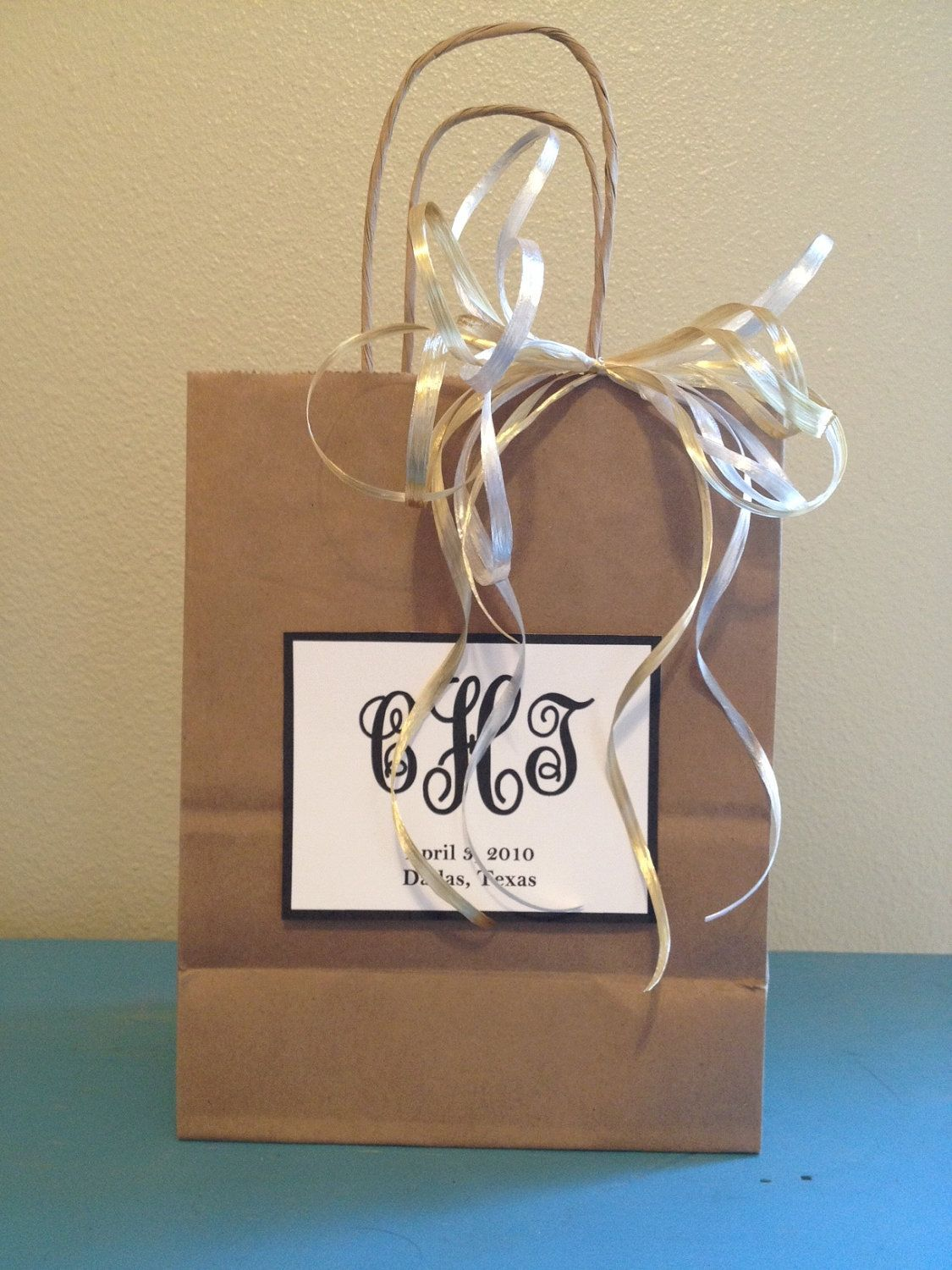 Wedding Welcome Bags With Monogram 2 00 Via Etsy Wedding Gifts For Guests Wedding Guest Gift Bag Wedding Gift Bags