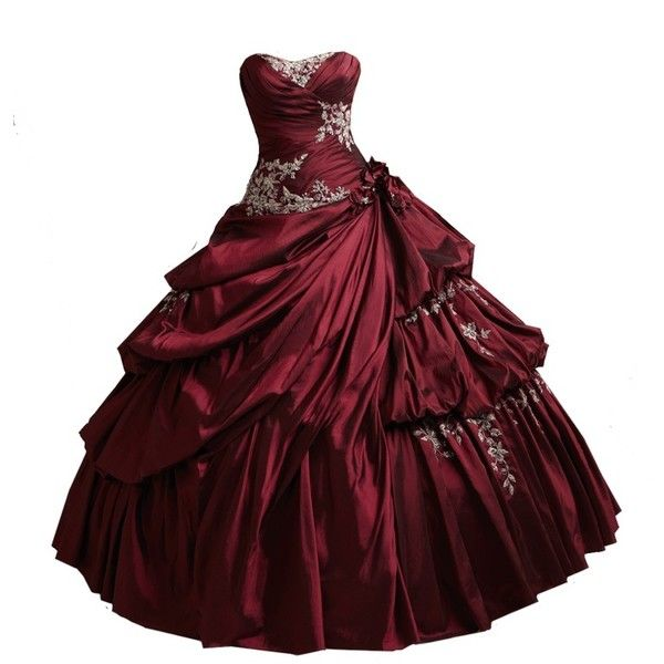 red burgundy ball gown png by vixen1978 liked on polyvore
