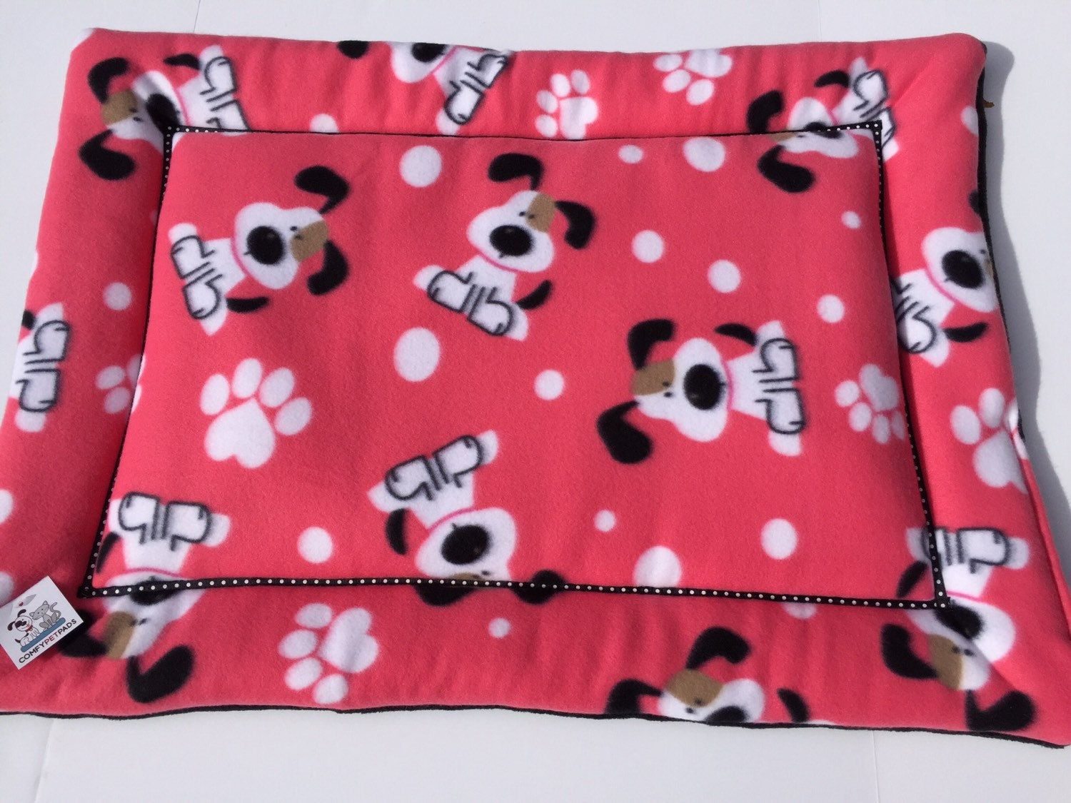 Pink Dog Bed Dog Crate Pad Pet Bedding Fleece Travel Bed Puppy