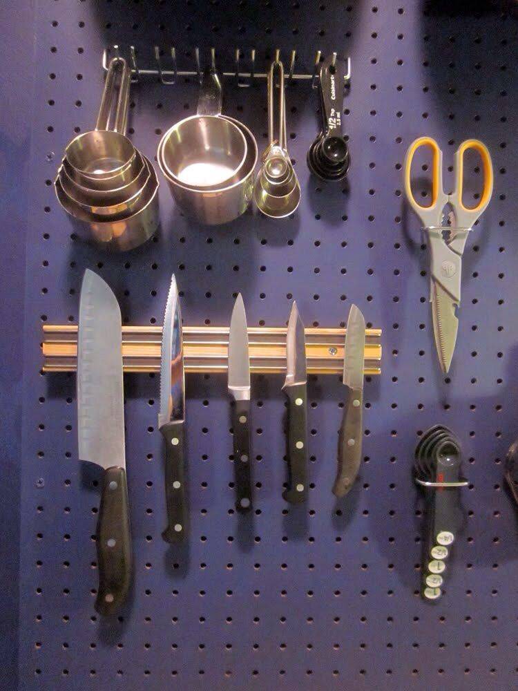 Knife Magnet On Pegboard Wall Organization Metal