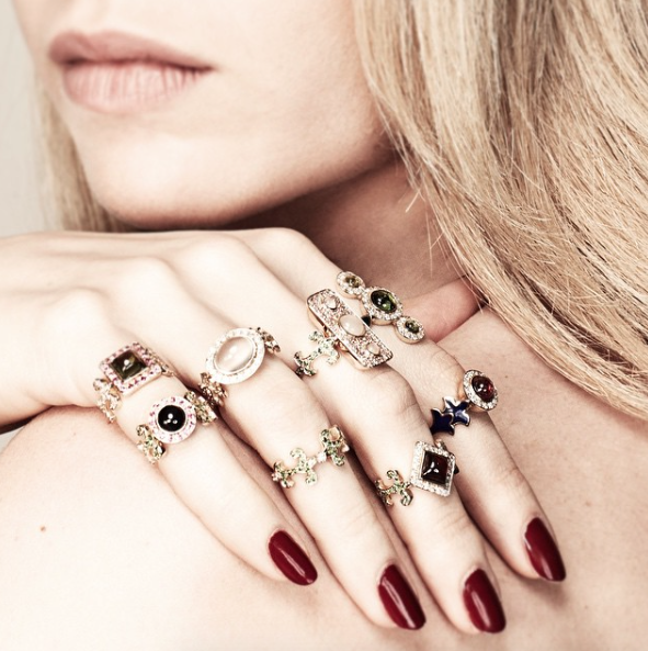 One of the newest ways to wear multiple rings at once is by layering antique finds on every finger. If you repeat the same shape (like ovals or triangles), you can get away with just about anything.   Learn more about layering jewelry from theFashionSpot. http://www.thefashionspot.com/style-trends/662149-how-to-layer-jewelry/#/slide/1   Shop for Antique and Vintage jewelry at www.rubylane.com @rubylanecom   https://www.rubylane.com/jewelry