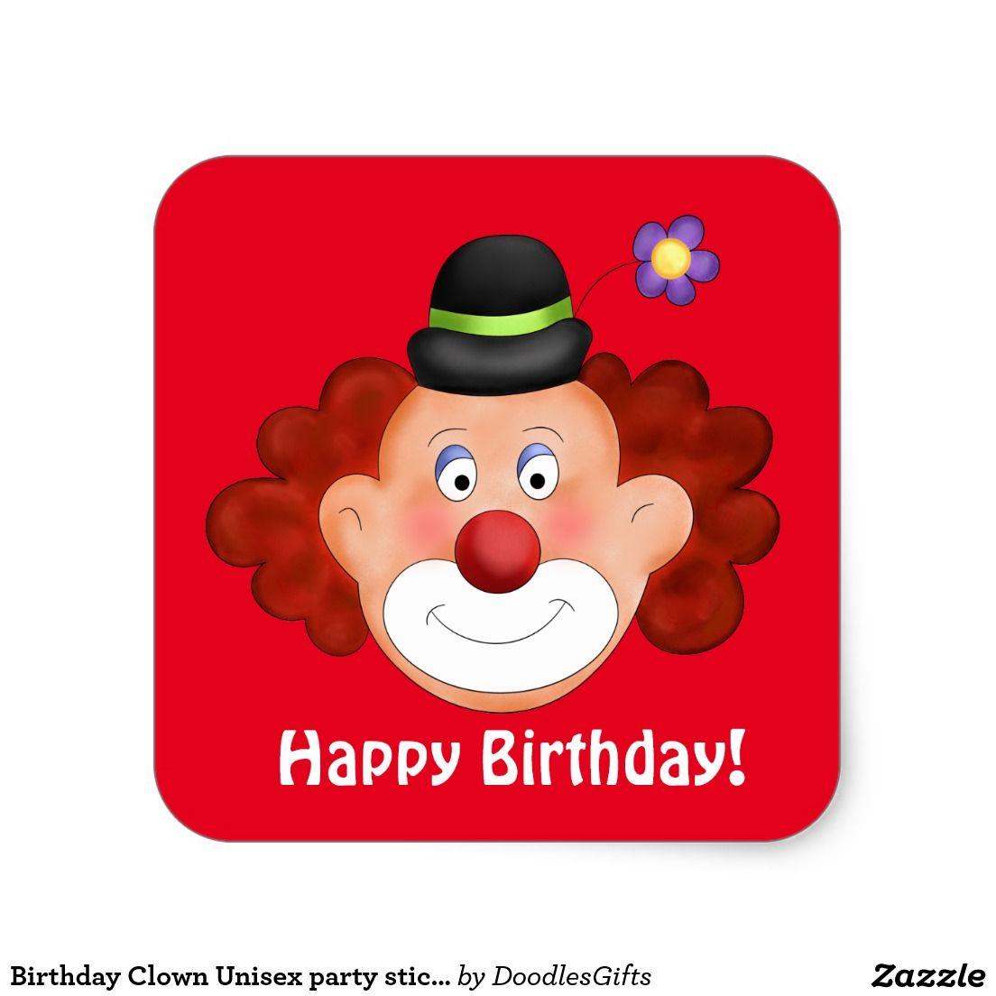 Birthday Clown Unisex party sticker Birthday clown