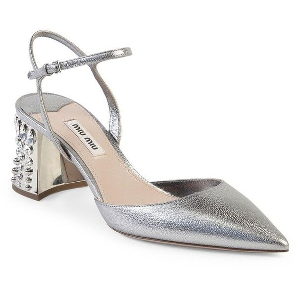 Miu Miu Jeweled Heel Metallic Leather Pumps ($990) ❤ liked on Polyvore featuring shoes, pumps, apparel & accessories, metallic shoes, metallic pumps, pointed toe pumps, jeweled pumps and pointed toe shoes