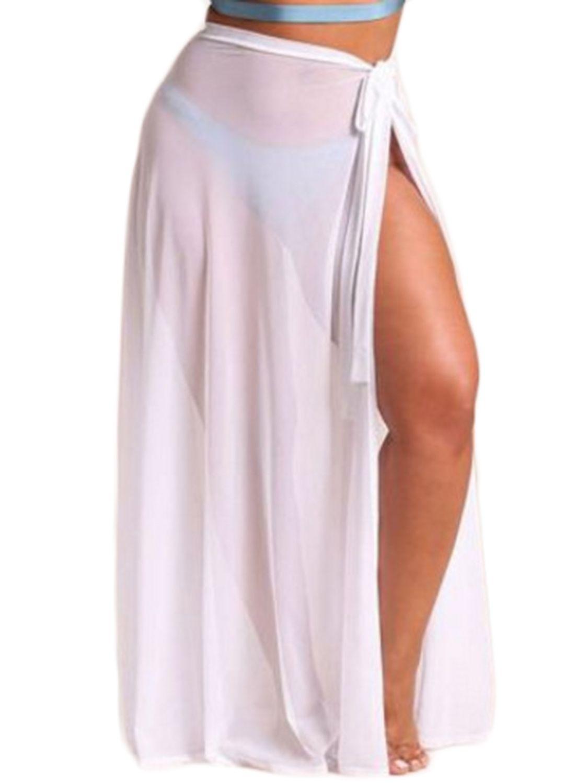 5e61810411ca8 Women Sexy Beach Sarong Sheer Chiffon Side Tie Split Bikini Cover Up Maxi  Long Skirt Swimsuit