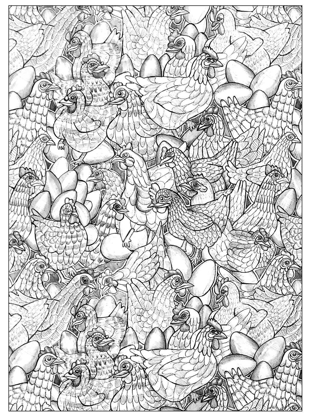 Free coloring page coloring-adult-chicken-1. Chicken to color ! They ...
