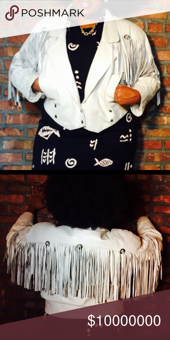 Ferris Bueller inspired fringe leather jacket White