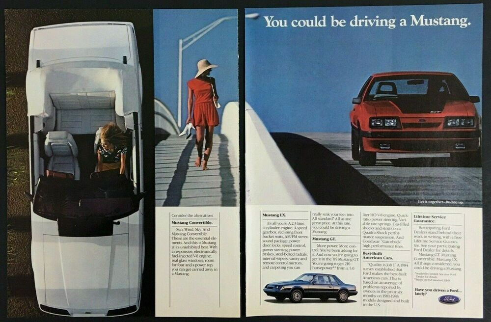 Ford Mustang GT 1985 Vintage Print Ad