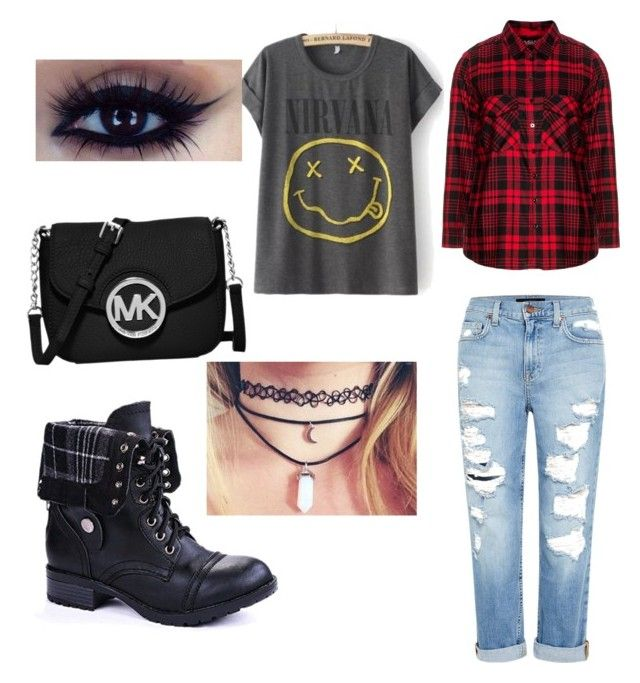 """school punk"" by mariam123-692 on Polyvore featuring Frapp, MICHAEL Michael Kors and Genetic Denim"
