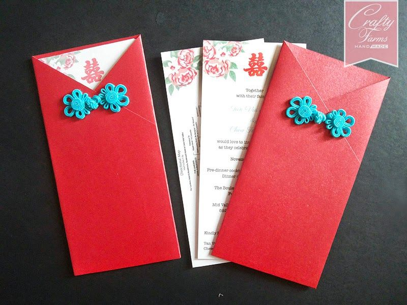 Oriental red pocket wedding card with blue chinese button red oriental red pocket wedding card with blue chinese button stopboris Choice Image
