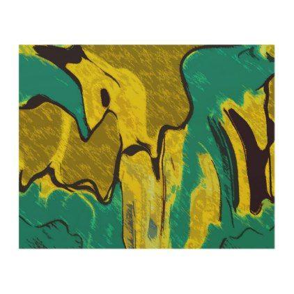 Mustard Yellow Teal Abstract Wood Wall Art - modern gifts cyo gift ...