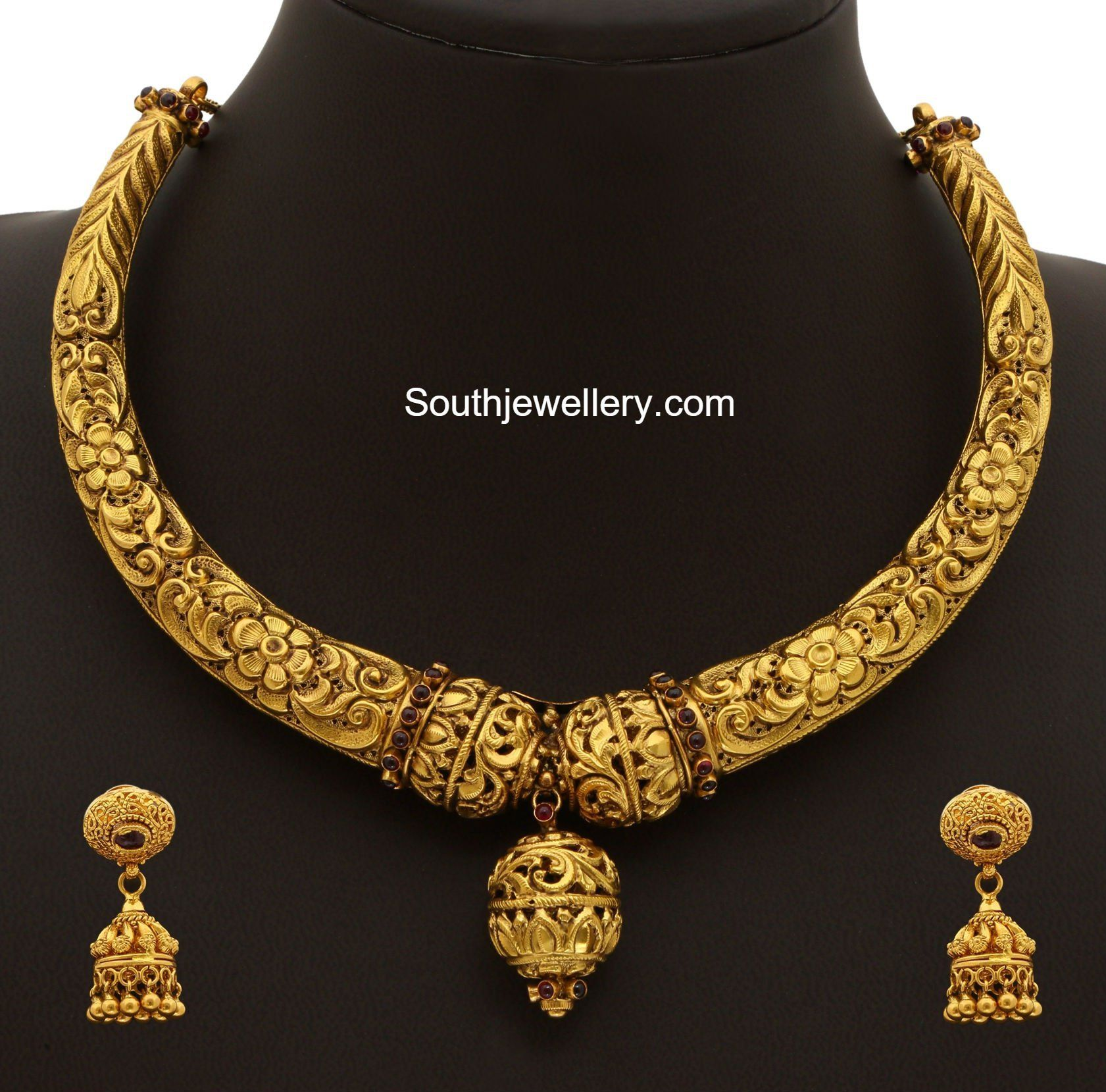 Top 25 Indian Antique Jewellery Designs For Women: Gold Kanthi Necklace 600x592 Photo Deepika. Dks Pinboard