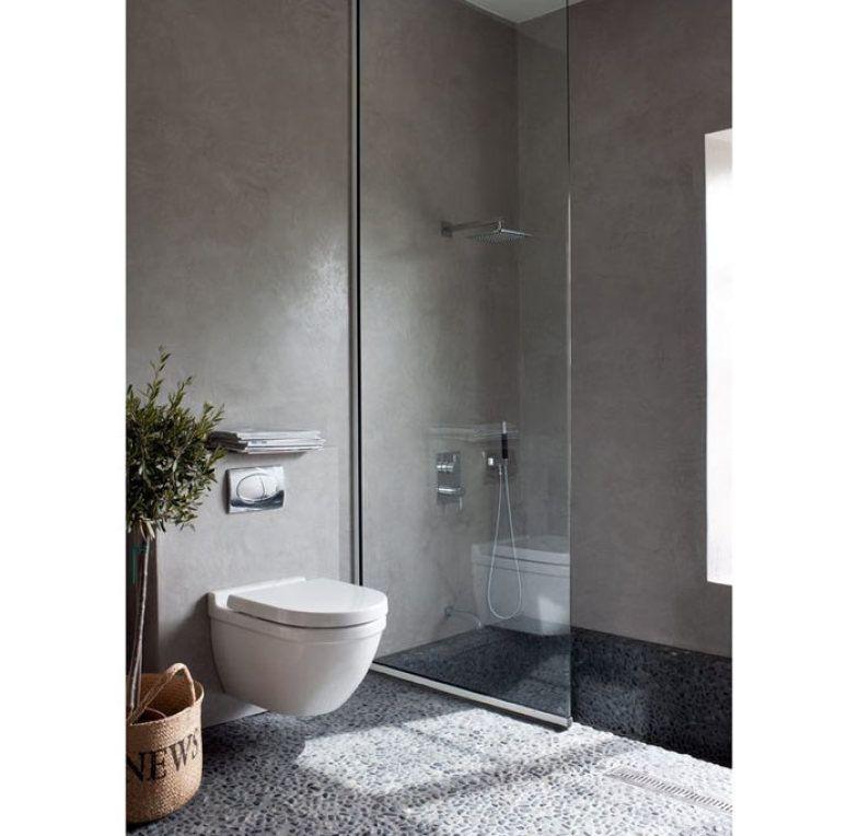 modern bathroom   oversized tiles   gray   white Modern