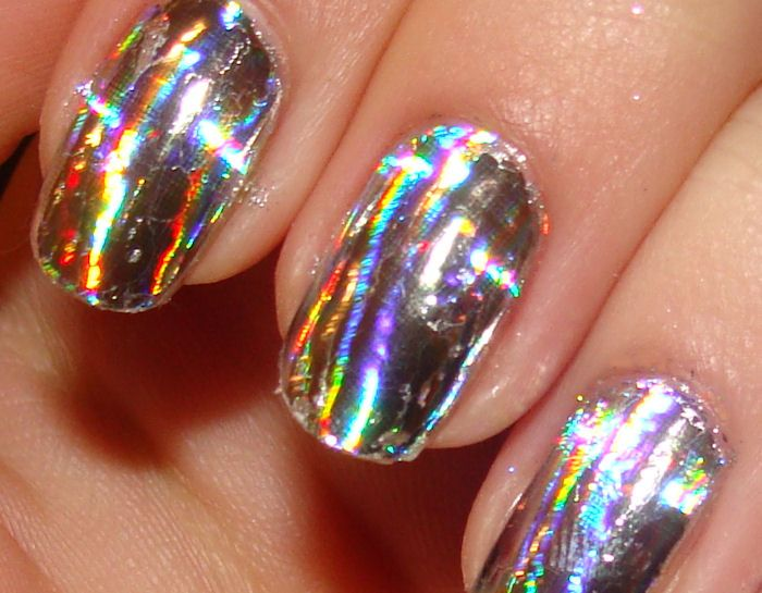 So cool so many different colors the color palette pinterest manicures silver and dna - Foil nail art ...