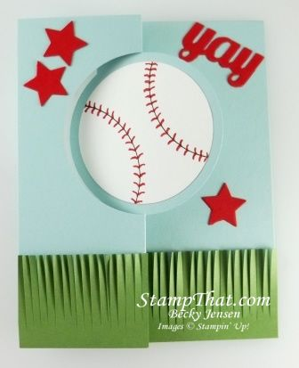 Stampin Up Baseball Card By Becky Fringe Scissors Circle Card