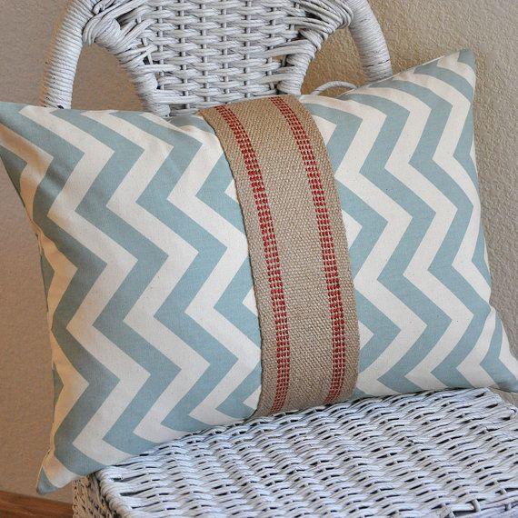 Chevron Zig Zag Chevron Decorative Pillow Cover Zig Zag Blue and Natural Burlap Accent 12x16 Decor Fabric
