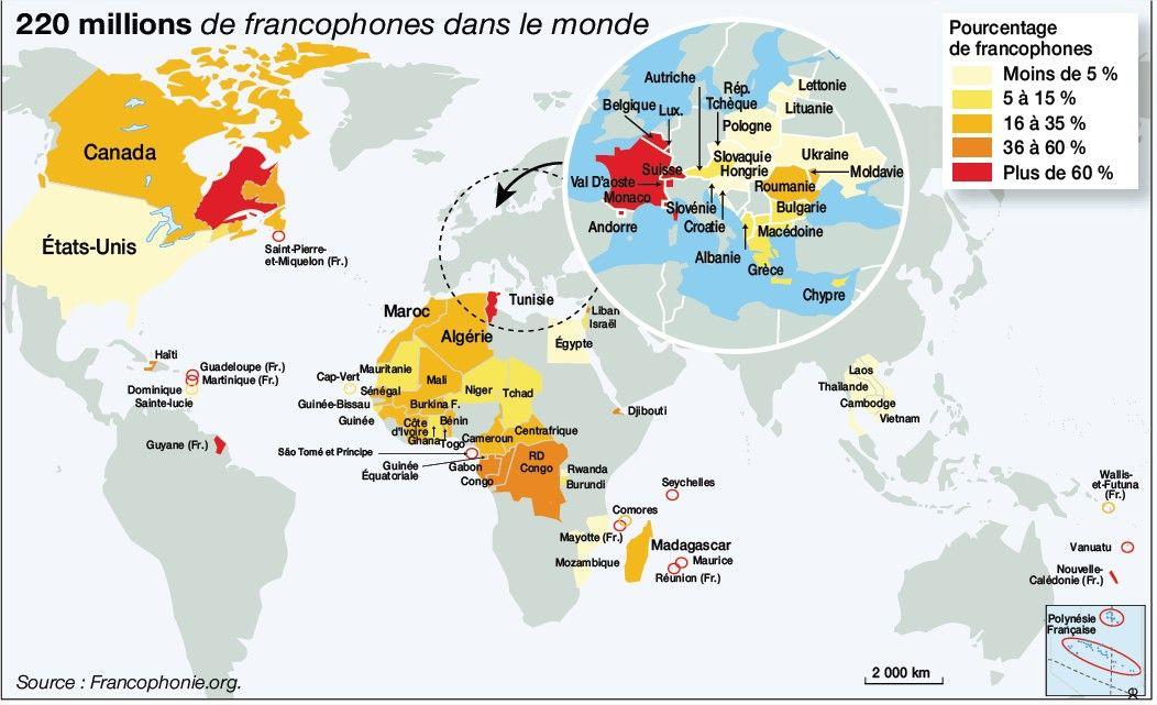 Carte Madagascar Dans Le Monde.Carte Du Monde Pourcentage De Francophones Francophonie