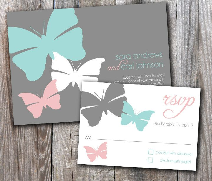 Butterfly Wedding Invitation Sample Set By Designsbyadj On Etsy Butterfly Wedding Invitations Pink Wedding Invitations Teal Wedding Invitations
