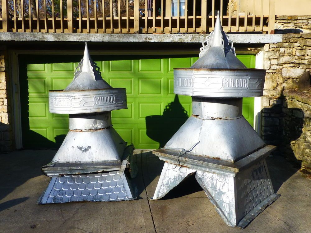 Set Of 2 Antique Vintage Large Milcor Cupola Barn Vents