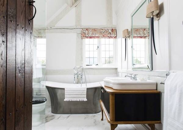 Wow what a bathroom! My clients beautiful home in Herefordshire featured in English Home magazine. Interior design in Herefordshire- www.samanthathomasdesign.com