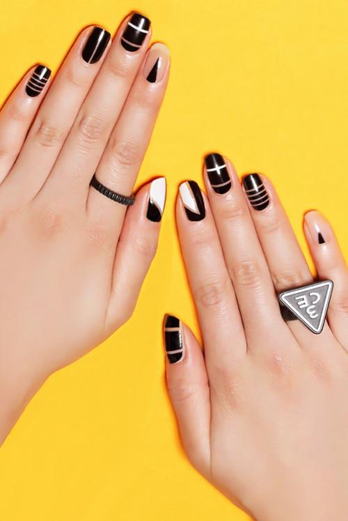 black and white nail design, diseno de unas