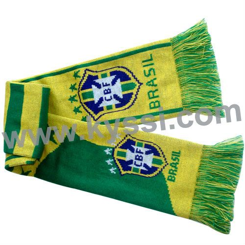 Brasil National Soccer Team 2014 World Cup Knitting Jacquard Acrylic Football Scarf $1~$5