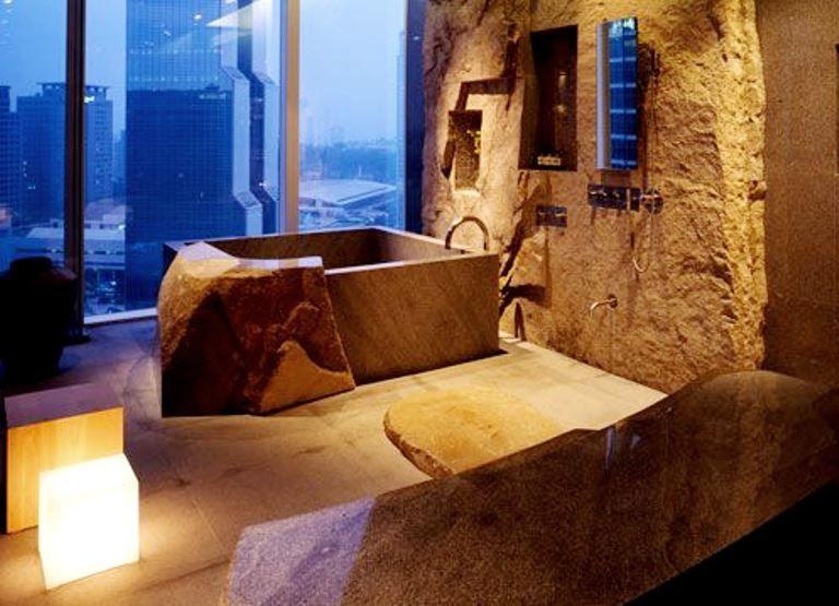 Park hyatt seoul by super potato sinks stone bath spa inspired bathroom stone bathroom for Coolest bathrooms in the world