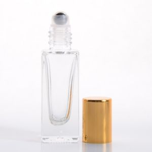 5ml (1/6 oz) Clear Glass Deluxe Square Bottle with Stainless Steel Roller and Gold or Silver Cap