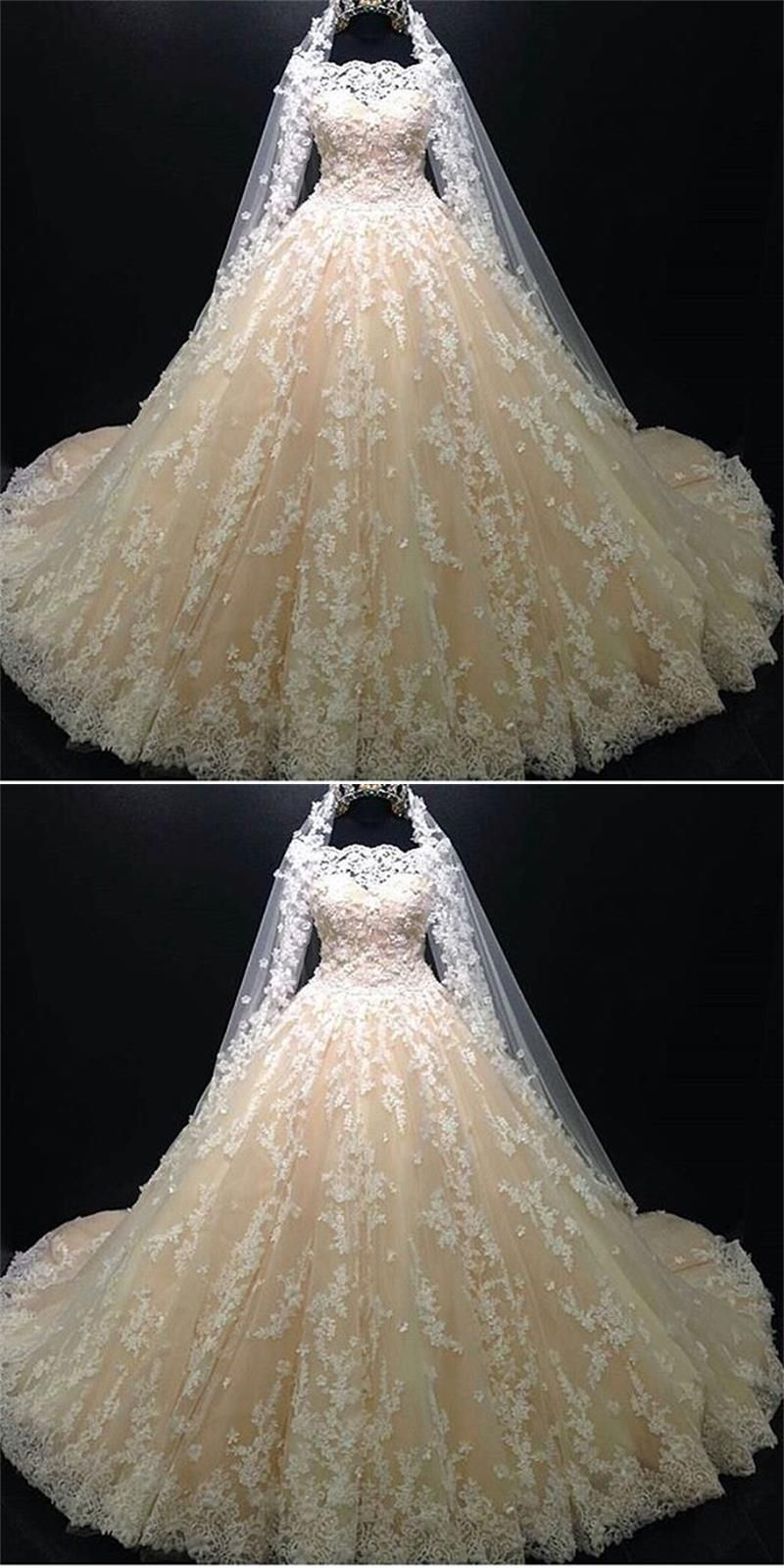 Lace wedding dress champagne  Luxury Ball Gown Champagne Wedding Dresses  Long Sleeve Lace