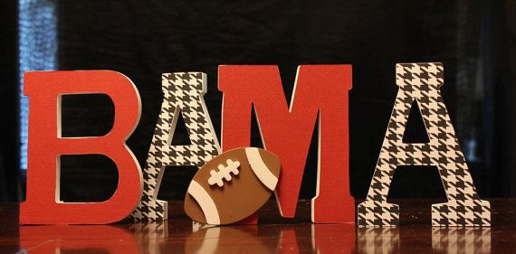 BAMA sign Freestanding Wooden letters with football by Waywithword, $25.00