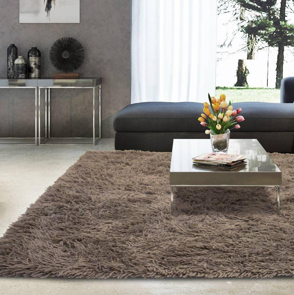 Prachtig hoogpolig wollen vloerkleed in grijze kleurstelling | Tv ...