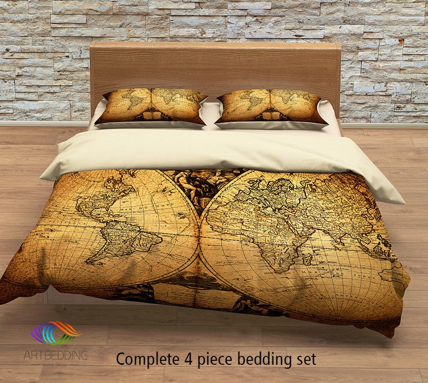 Vintage world map bedding, Antique map of the world 1752 ...