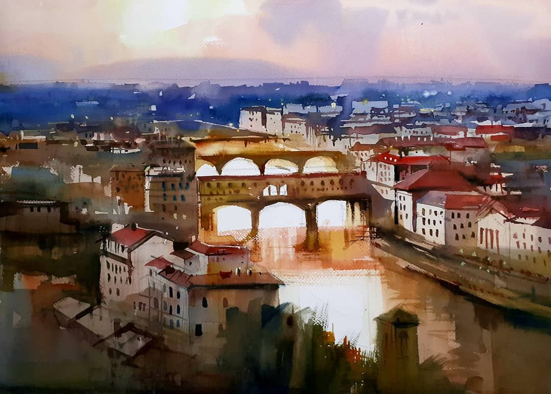"Milind Mulick on Instagram: ""Florence... . #danielsmith #brustro #kdsart_store #creativehandskolkata #watercolorpaper #watercolorartwork #watercolorillustration…"""