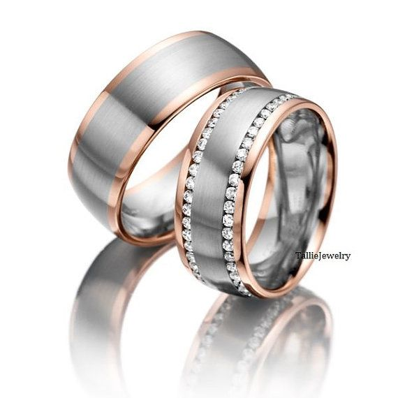 His Hers Mens Womens Matching 10k White And Rose Gold Two Tone Gold Wedding Bands Rings Set Matching Wedding Rings Diamond Wedding Bands Wedding Ring Bands