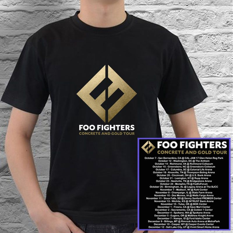 Foo Fighters Concrete And Gold Tour Concert 2017 Black Tees