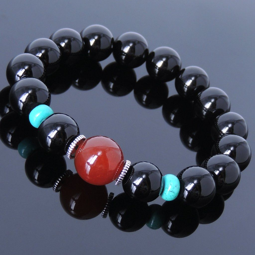 Red Agate Black Onyx & Enhanced Turquoise Healing Gemstone Bracelet with S925 Sterling Silver Spacers - Handmade by Gem & Silver BR009