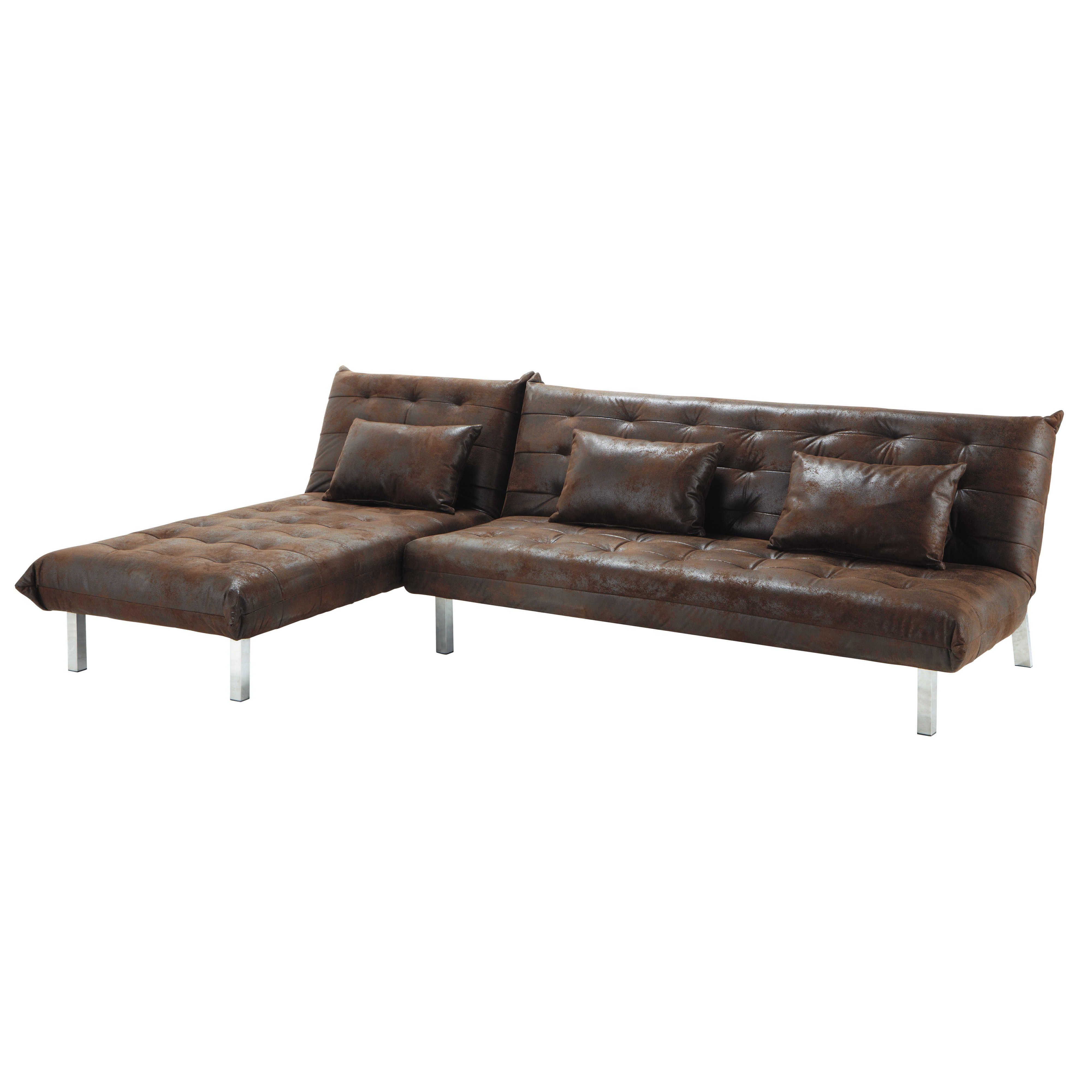 Sofa 4 Sitzer Leder ausziehbares ecksofa 4 sitzer aus kunstleder braun max decoration