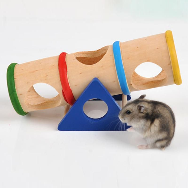 1pcs Colorful Wood Hamster Seesaw Tube Tunnel Cage House Small Pet
