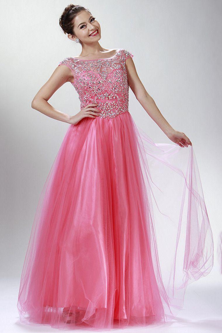 2015 Bateau A Line Prom Dresses Beaded Bodice Tulle Floor ...