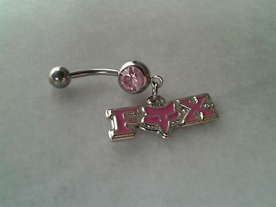 Fox Racing Belly Navel Ring Sexy Body Jewelry Dangle Pink Crystals