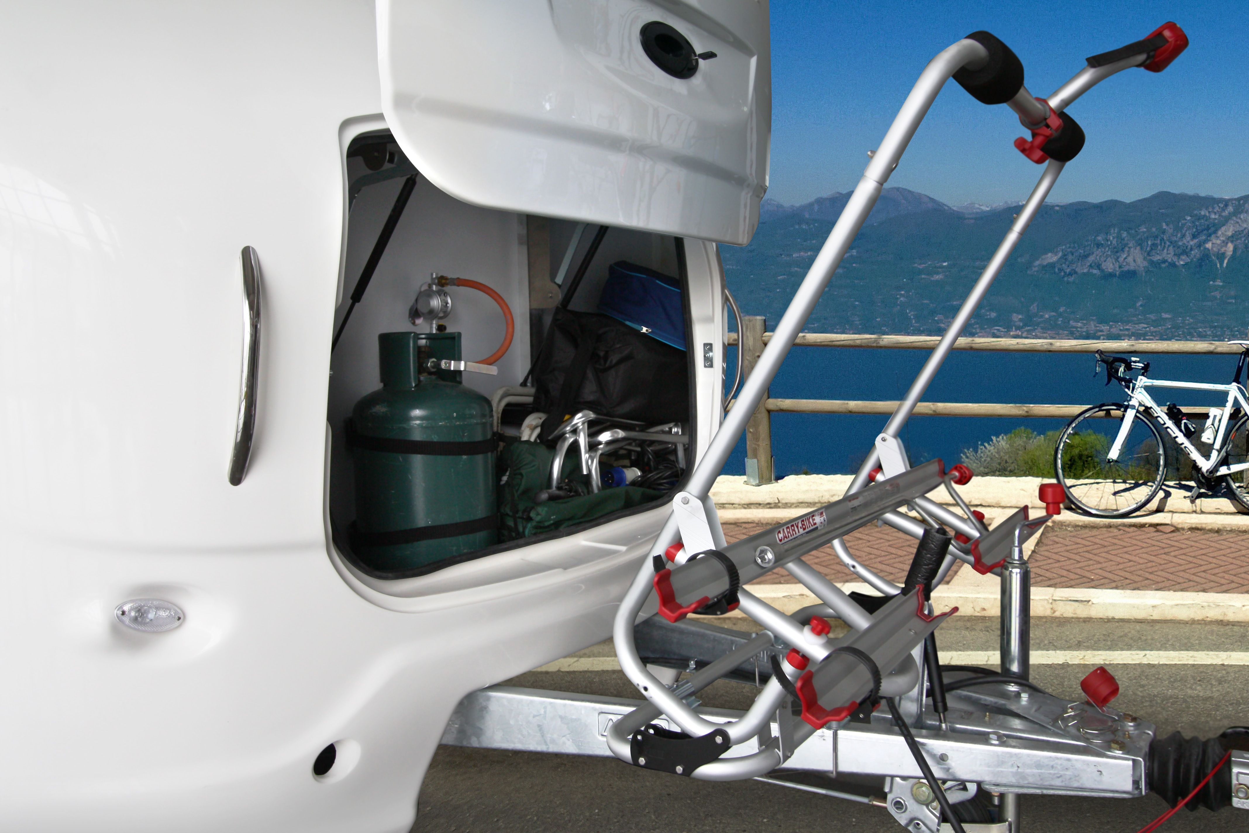 Rookie 3.5 can be equipped with a bikerack on the towbar