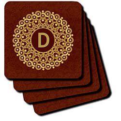 13 99 15 99 Monogram D Tan And Coffee Mandala On Warm Chocolate Muted Grunge Damask Coaster Is New Commercial Quality Prod Warm Chocolate Monogrammed D D Tan