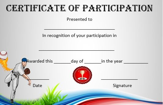 Baseball Participation Template  Baseball Certificate Templates