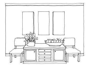 Dining Room One Point Perspective Drawing