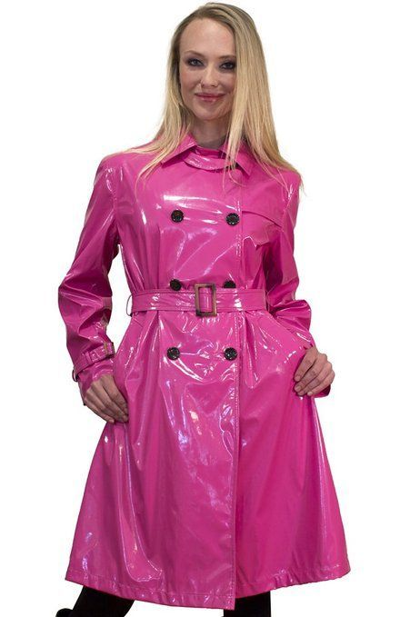 Pin On Imperméable, Pink Plastic Trench Coat