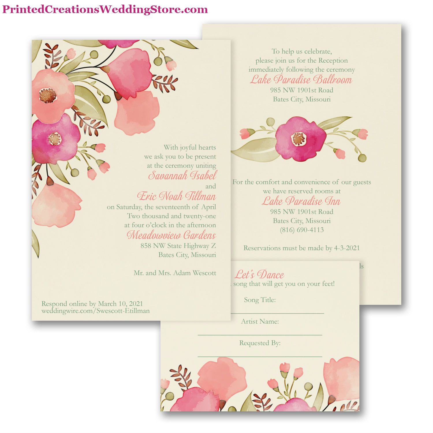 Perfect Poppies ValStyle Invitation - delicate watercolor pink and ...