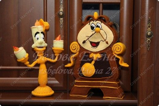 Toy Crochet Cogsworth and Lumiere from Beauty and the Beast Yarn