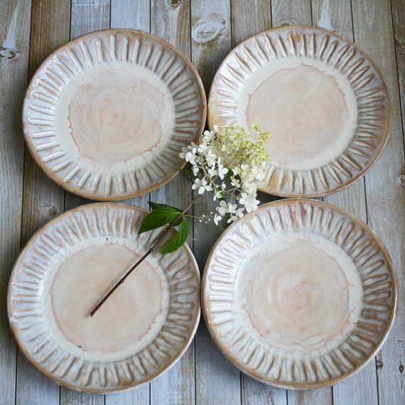 Rustic Dinnerware Set of 4 Side Plates in Creamy by AndoverPottery & Rustic Dinnerware Set of 4 Side Plates in Creamy by AndoverPottery ...