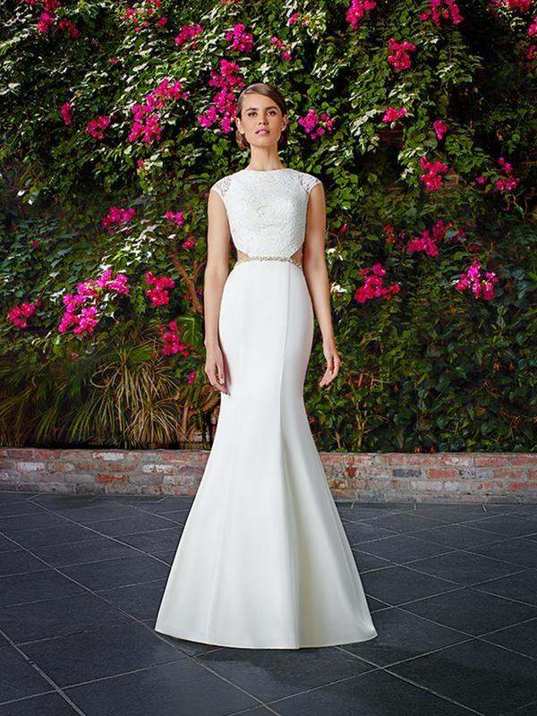 Moonlight Tango T766 daring jewel neck mermaid wedding dress with cut-outs